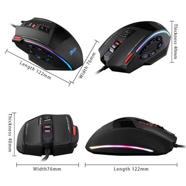 ZELOTES C-13 Wired Gaming Mouse 10000DPI 13 Programmable Buttons USB RGB Laser Computer Mouse Gamer Mice For Desktop Laptop PC