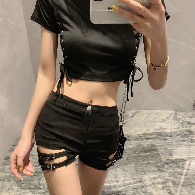 Vintage Lady Hot <font><b>Shorts</b></font> Hollow Out Bandage Punk Rock High Waist Worn-out Hole <font><b>Black</b></font> <font><b>Shorts</b></font> Summer <font><b>Sexy</b></font> Women Casual <font><b>Shorts</b></font> image