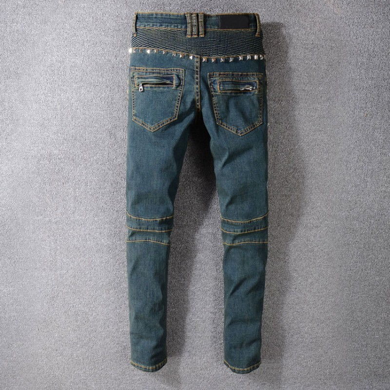 Vintage Washed Mens Biker Jeans Punk Style Studded Slim Fit Pleated Pencil Pants Rivet Motorcycle Denim Pants Big Size Trousers