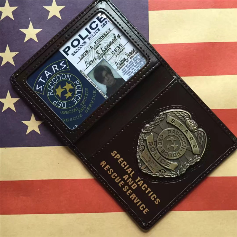 Biohazard STARS S.T.A.R.S RACCOON Police DEP Leon Chris Jill Wesker Black Faux Leather Certificate Wallet With PVC ID Card