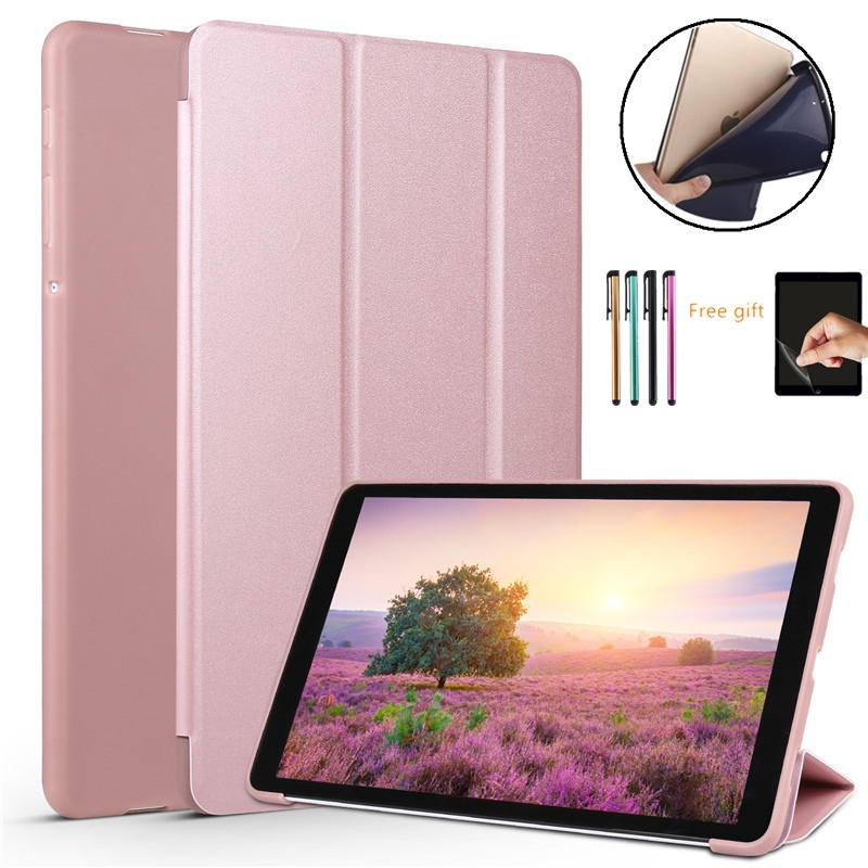 Smart Case For Samsung Galaxy Tab A 10.5 2018 Case T590 SM-T590 /T595 Awake Sleep Leather Soft Silicon Back Cover Funda+Film+Pen