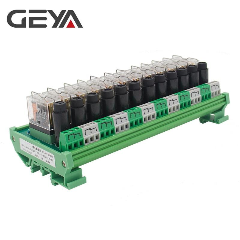 GEYA NGG2R modulaire PLC Type de Rail 12 canaux Module de relais avec Protection contre les fusibles courant alternatif 12V 24V