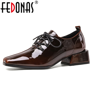 FEDONAS Euro Style New Retro Casual Women Patent Leather Shoes Spring Butterfly Knot Lace-Up Square Toe Thick Heel Shoes Woman