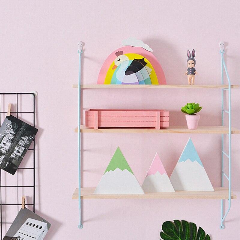 New Wall Storage Shelf Wooden Hanging Shelf 3 Tier Wall Display Rack Home Decor Diy Wall Decoration Holder