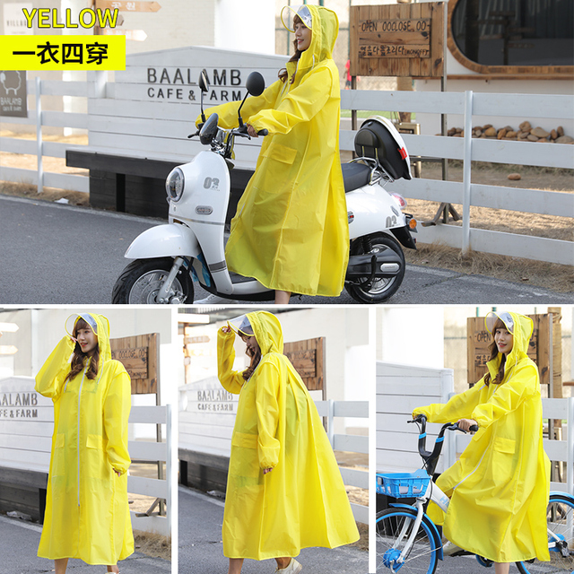 EVA Clear Raincoat Women Long Yellow Transparent Rain Coat Riding Electric Bicycle Adult Rain Poncho Plastic Coat Rainwear Gift 5