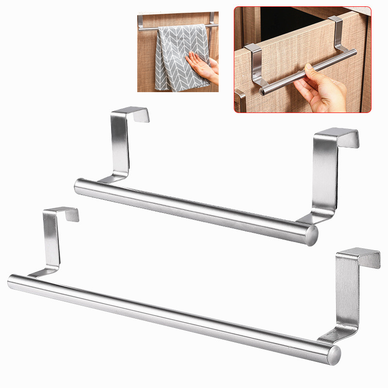 1PC Over Door Towel Stand Rack Storage Stainless Steel Bathroom Kitchen Cupboard Universal Door Hanging Sundries Shelf Organizer