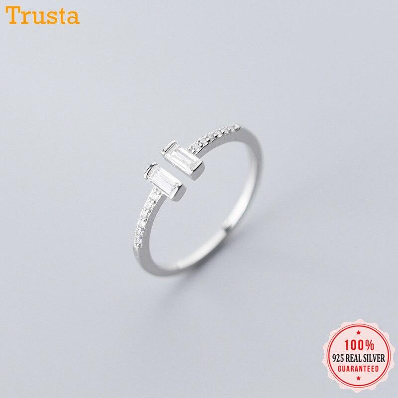 Trustdavis Fashion Genuine 925 Sterling Silver Sweet Dazzling CZ Stick Opening Finger Ring For Women Girls Jewelry Gift DA558