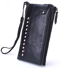Men's head leather handbag double zipper leather long wallet soft leather business hand bag Korean version hand grab bag