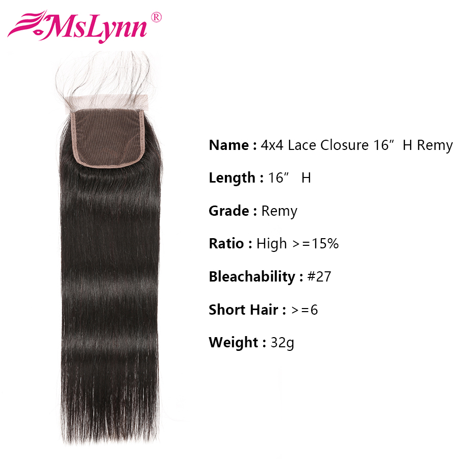 Image 5 - Straight Hair Bundles With Closure Brazilian Hair Weave Bundles With Closure Human Hair Bundles With Closure Mslynn Remy Hair-in 3/4 Bundles with Closure from Hair Extensions & Wigs