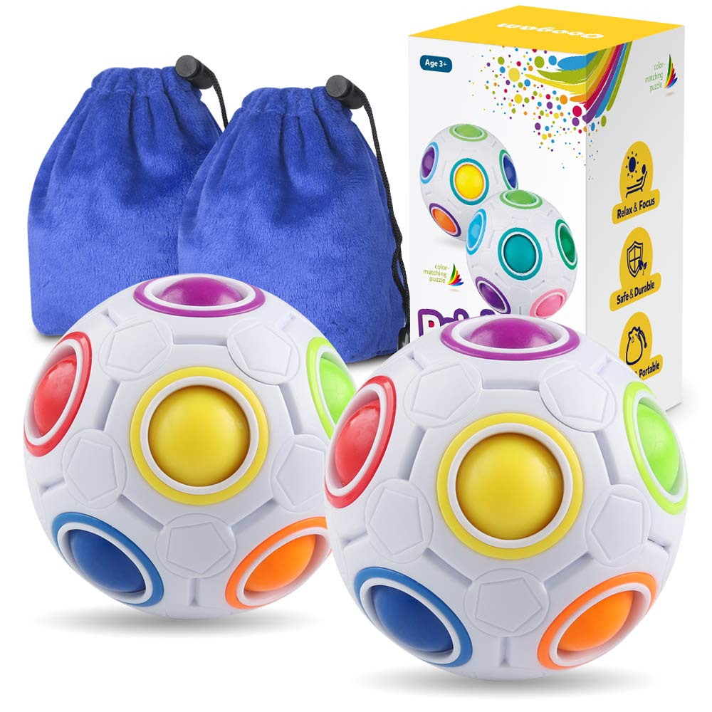 Coogam Rainbow Puzzle Ball Color-Matching Game Toy Stress Reliever Magic Ball Brain Teaser for Kids and Adults,Boy,Girl Set of 2