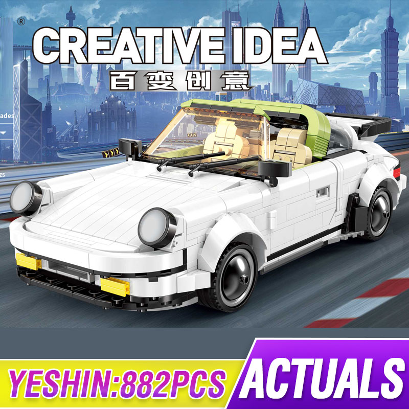 Yeshin 882Pcs Creator Cars The White Classic Sport Speed Car Set Building Blocks Bricks Kits Kids Technic Toy Gift