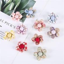 10Pcs/Lot Plaid Fabric Summer Five-Petal Flower Applique Crafts For Girl Garment Hair Clip Accessories Sock Bag Decoration Patch