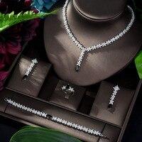 HIBRIDE Luxury Dubai Nigeria 4pcs Bridal Zirconia Necklace Earrings Rings For Women Party CZ Crystal Wedding Jewelry Sets N 1182