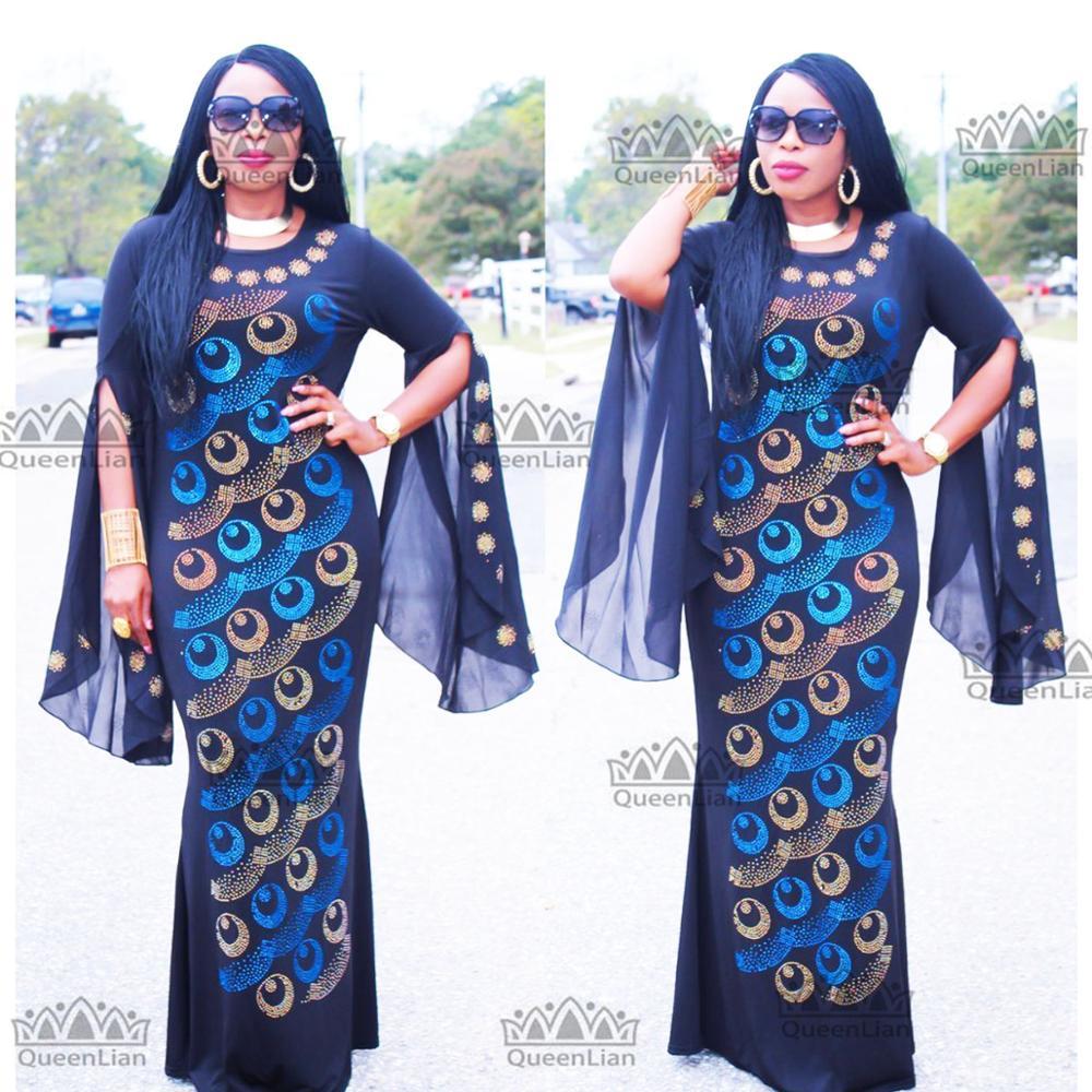 New African Clothing  Diamond Long Dress With Chiffon Sleeve Dashiki Dress For Lady ZX#