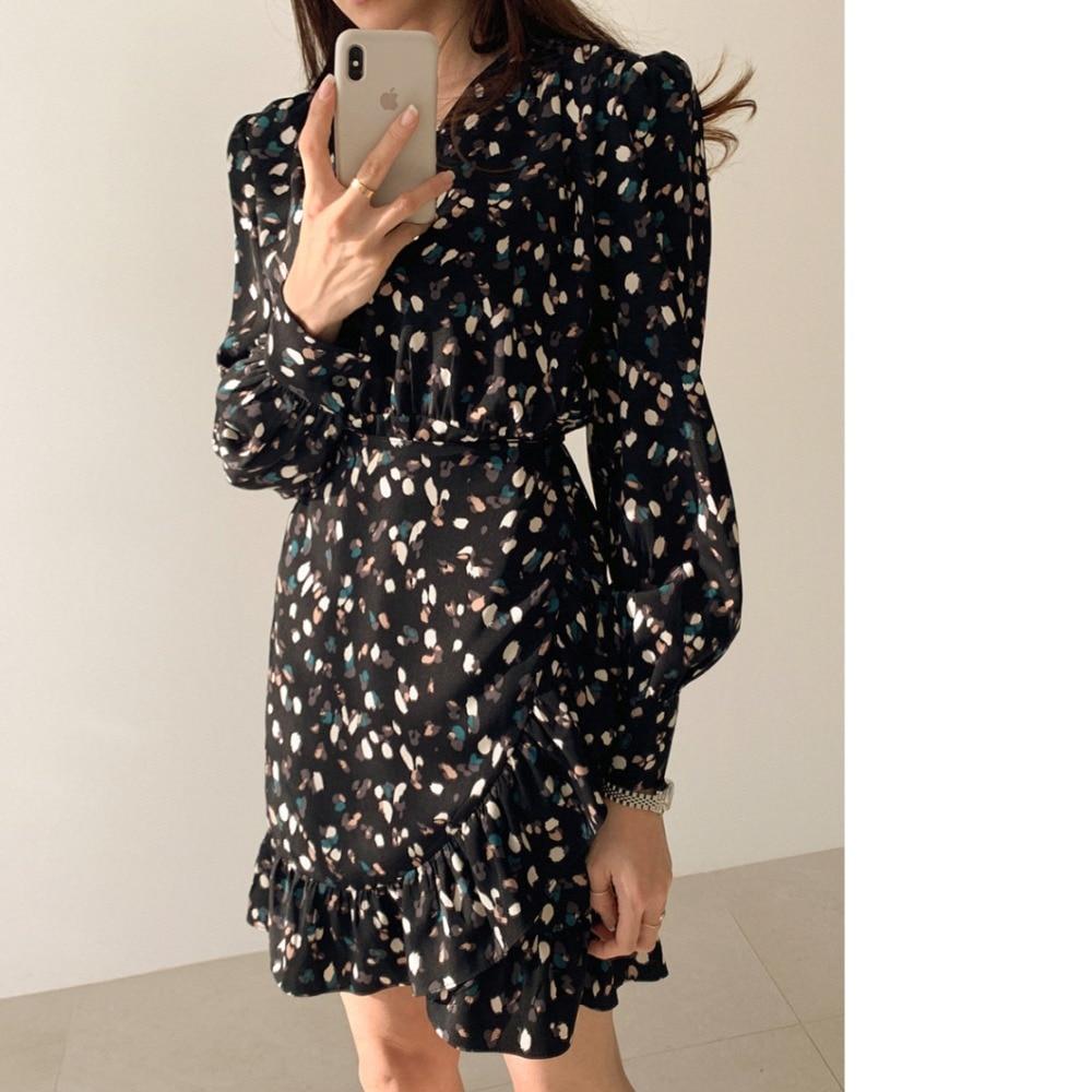 H6d3f557cab0a4e238813eabf7231b09f7 - Autumn V-neck Long Sleeves Floral Print Flounced Mini Dress