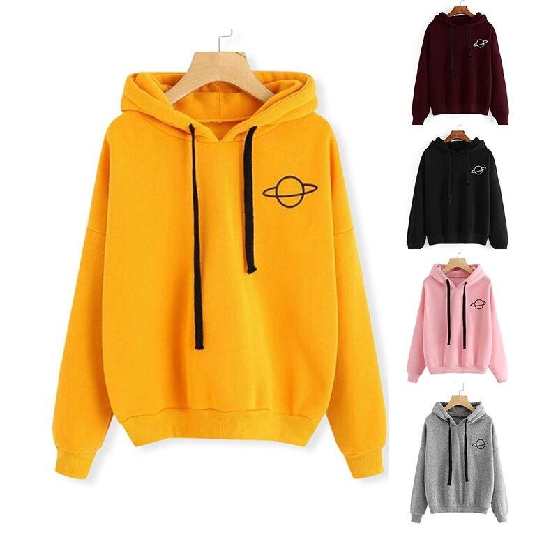 Harajuku Hoodies Pullover Women's Solid Color Kpop Hooded Tops Female Planet Print Sweatshirt Winter Casual Sportswear