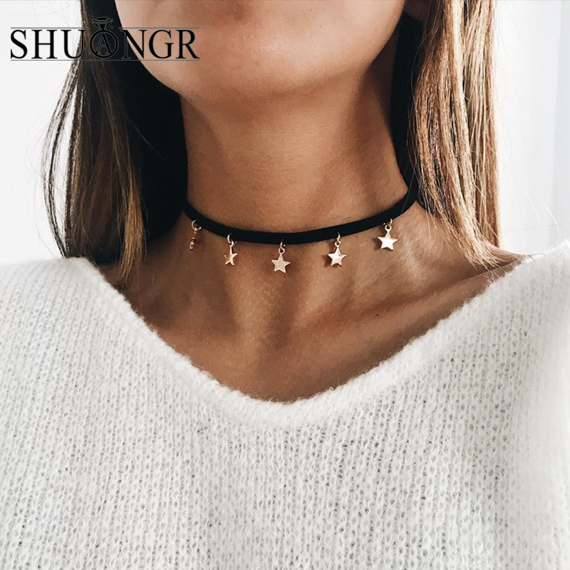SHUANGR Fashion Collares Collier Black Velvet Leather Five-Pointed Star Pendants Chokers Necklaces For Women Jewelry image