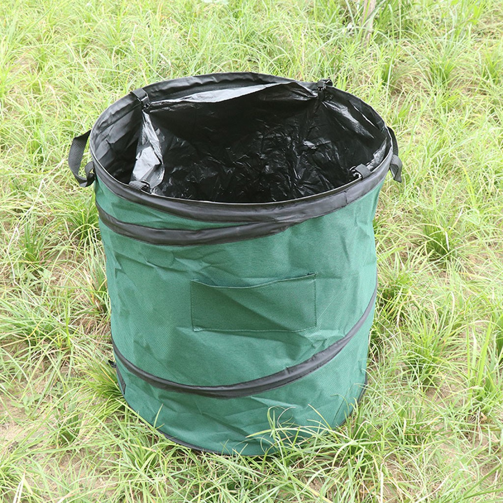 Portable Collapsible Trash Can Pop Up Garden Leaf Garbage Storage Bag Flowers Grass Collection Bin Camping Picnic Outdoor Bucket|Outdoor Tools| |  - title=
