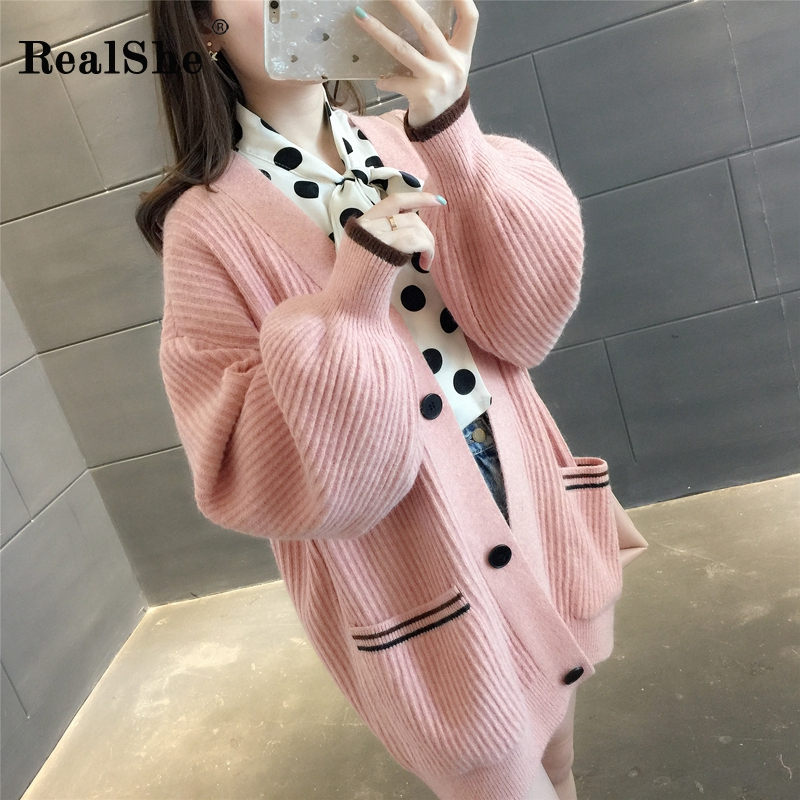 RealShe Sweters Cardigan For Women Long Sleeve Solid Buttons Pocket Cashmere Sweater Women Elegant Autumn Sweater Woman