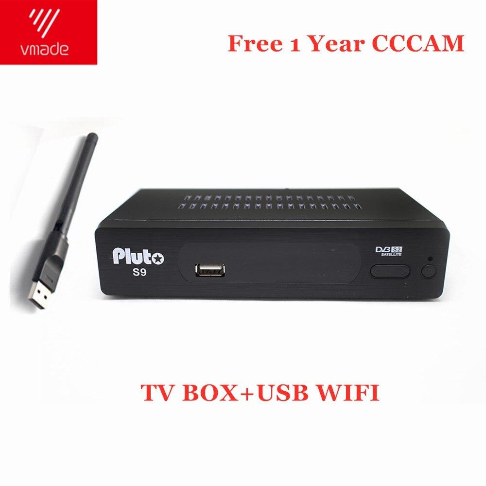 1 ano europa 7 linhas servidor DVB-S2 pluto s9 hd receptor de satélite digital DVB-S2 v7s hd completo 1080 p + usb wifi atualizar pk v8 nova