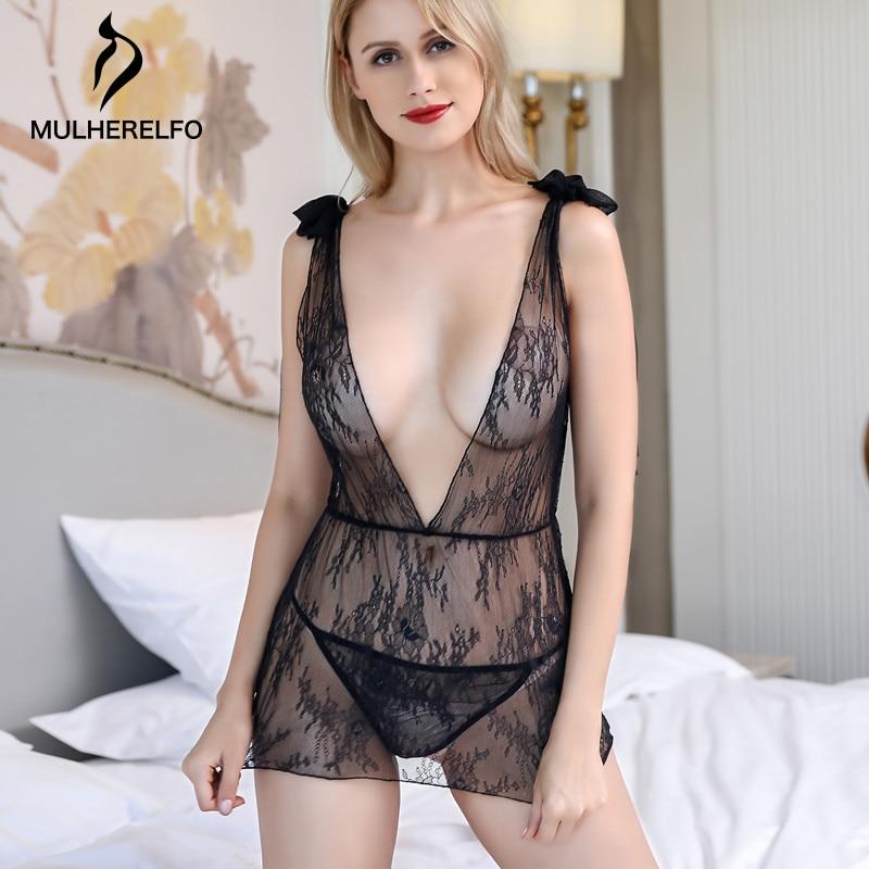 Black Sexy Lace Mesh Backless Women Night Dress Deep V See Through Woman Nightgown Summer Lingerie Women Sexy Sleepwear Gecelik