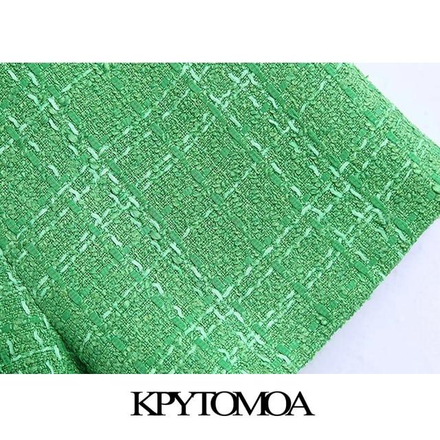 KPYTOMOA Women 2021 Chic Fashion With Lining Tweed Shorts Vintage High Waist Back Zipper Female Short Pants Mujer 4