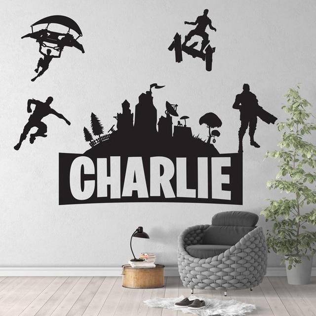 Autocollant mural en vinyle pour chambre de jeu   Autocollant personnalisé avec nom, décoration murale pour chambre denfants pour chambre de Gamer, accessoires de décoration Z756