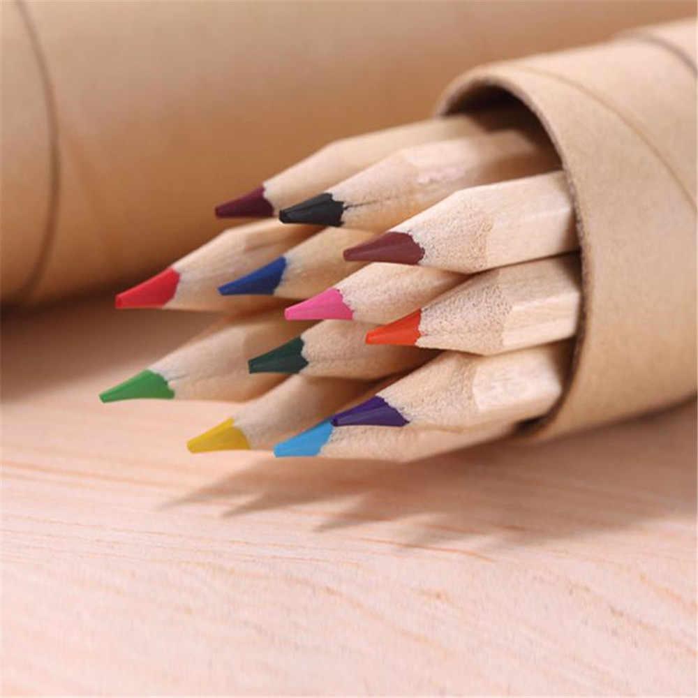 12 couleur petit crayon peinture stylo couleur plomb crayon bureau papeterie écriture peinture pour les étudiants dessin couleur plomb trompette