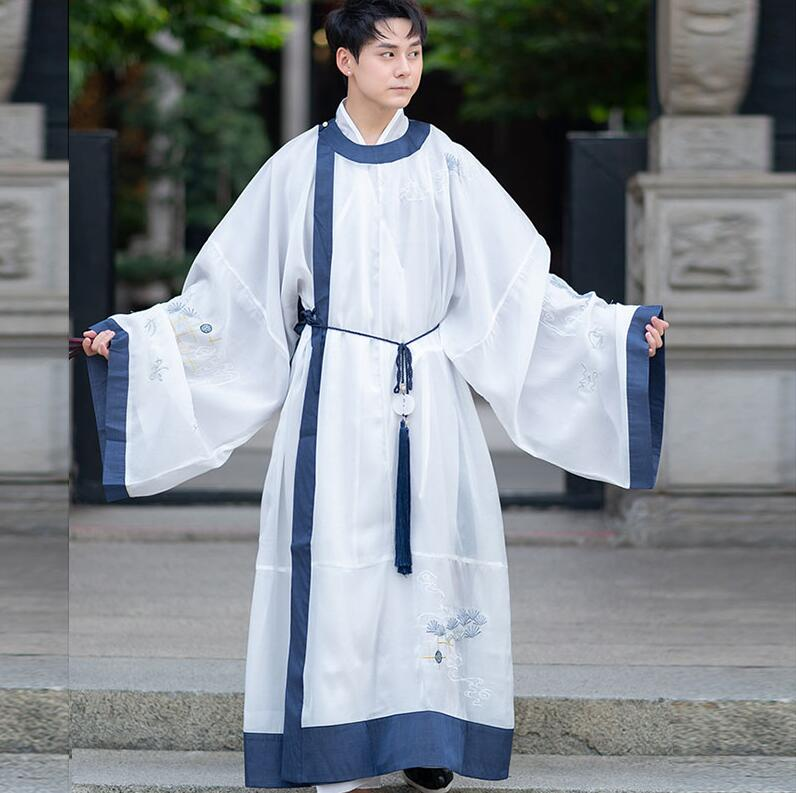 Stage Costume HanFu Gifted Scholar Chinese Japanese Ancient Youth Handsome Men Daily Improvement Embroidery  Coat+jacket+belt