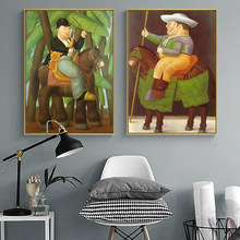 The President and First Lady By Fernando Botero Canvas Painting Posters and Prints Wall Art Funny Art Pictures for Home Decor