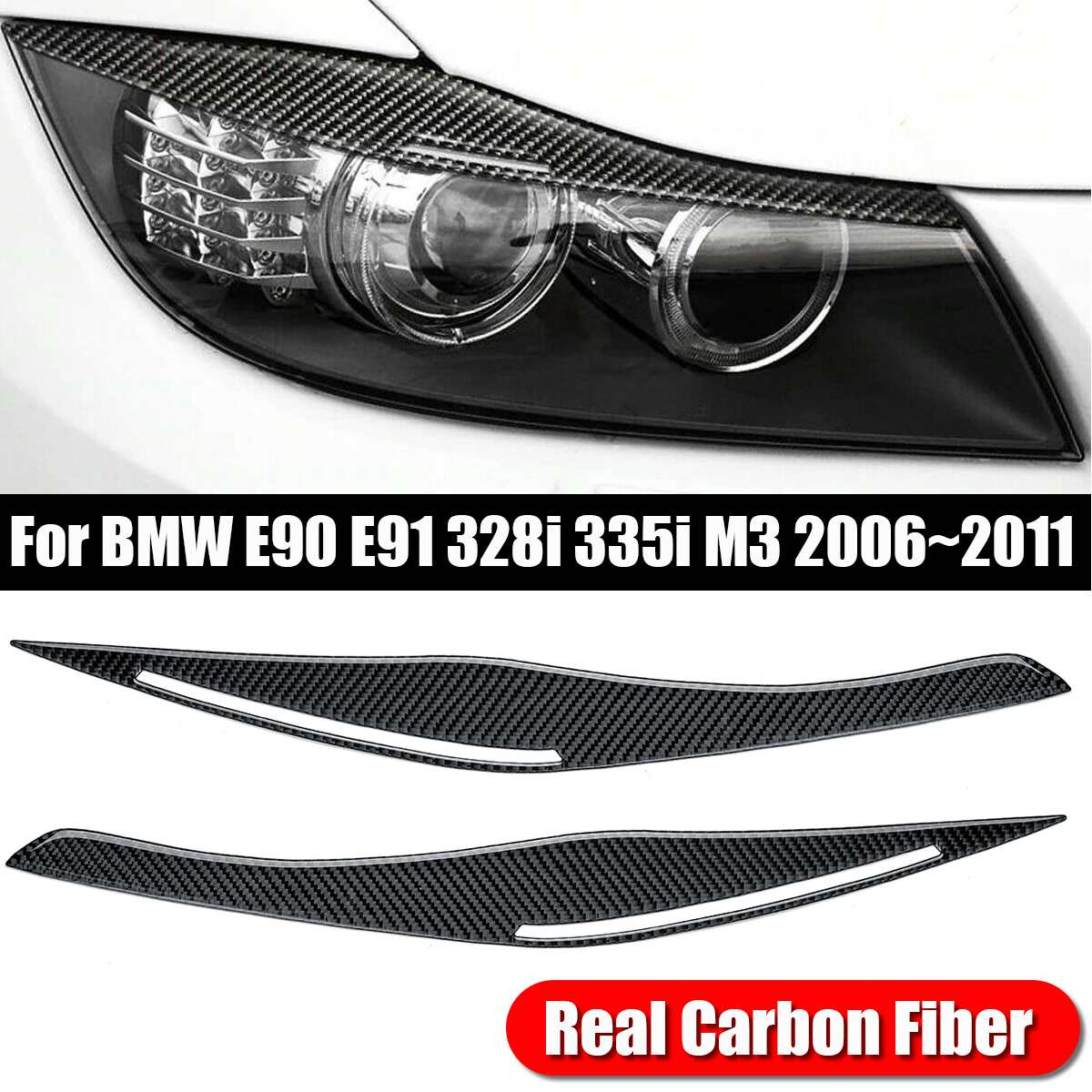 1pair Real Carbon Fiber Car Headlight Eyelid Eyebrow Cover Trims for BMW E90 E91 328i 335i M3 2006-2011 Car Stickers image