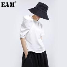 [EAM]-Camiseta blanca holgado y plisado de media manga con cuello redondo para mujer, Camiseta holgada tridimensional, moda de mujer 2021