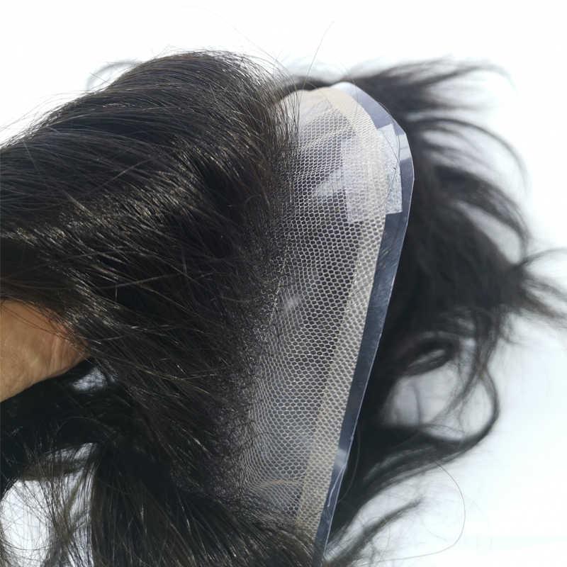 """Estilo libre para hombres, tupé de encaje, fuente y monofilamento de luz superior con perímetro de poliéster de 3/4 """", densidad: cabello Remy 120% humano, envío gratis"""