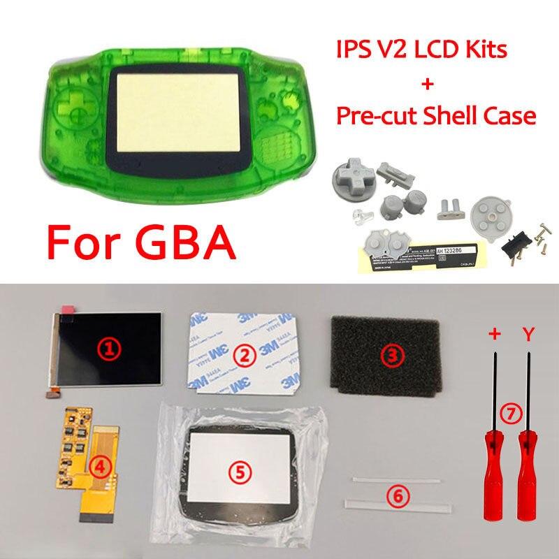 Kits de pantalla LCD IPS V2 con carcasa precortada para retroiluminación GBA, pantalla LCD V2, 10 niveles de alto brillo para la carcasa de la consola GBA