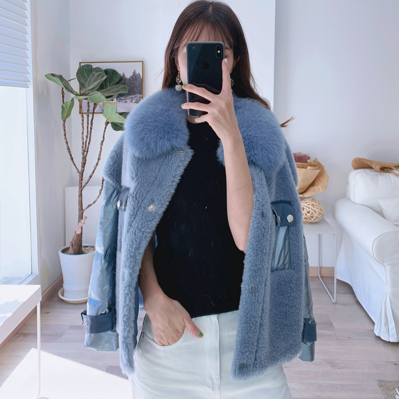 Fur Real Coat Female 100% Wool Coat Winter Coat Women Real Fox Fur Collar Sheep Shearling Korean Down Jacket 919150
