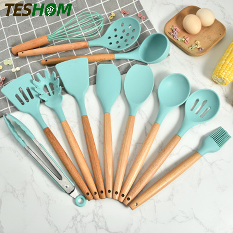 10 in1 FDA Silicone Cooking Utensils Set Non-Stick Products Kitchen Baking Tools