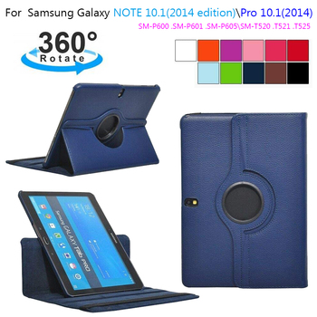Funda de cuero con soporte giratorio para tableta Samsung Galaxy Tab Pro, 10,1 pulgadas, T520, T525, T521, Note 2014, P600, P601, P605, 360