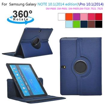 Para samsung galaxy tab pro 10.1 polegada t520 t525 t521 nota 2014 p600 p601 p605 tablet caso 360 suporte rotativo capa de couro