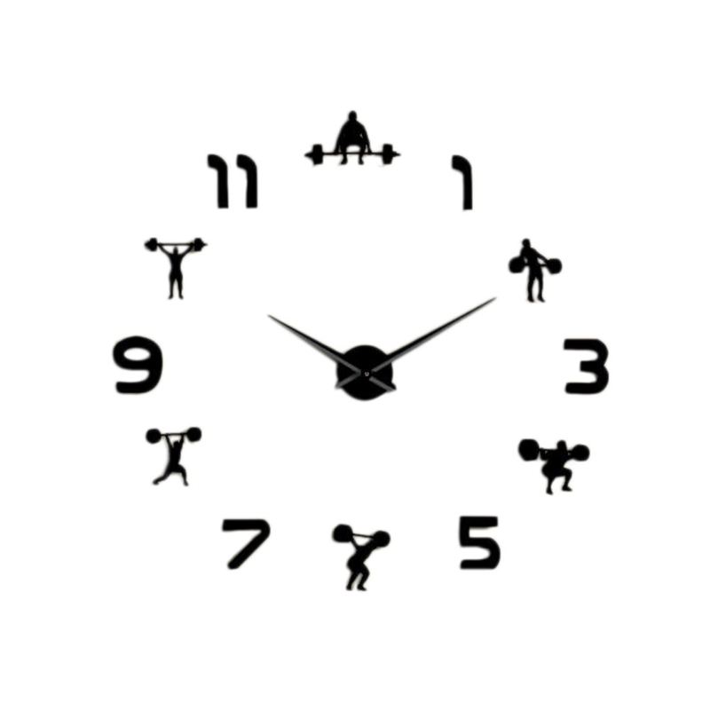 Weightlifting Fitness Room Wall Decor Diy Giant Wall Clock Mirror Effect Powerlifting Frameless Large Wall Clock Wall Watch Blac