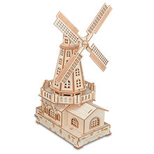 Kids Windmill Toys Woodcraft Construction Kit Woodcraft Windmill DIY 3D Wooden Windmill Puzzle Wooden Toy Gift for Children(China)