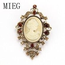 Broches de camafeo estilo victoriano con pasadores de Metal chapados en oro/plata Vintage para mujer o madre