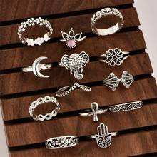 13pcs/Set Rings Set Bohemia Elephant Crown Flower Crystal Rings Set Gold Silver Knuckle Finger Rings For Women Party Ornament new 13pcs set bohemia retro metal purple crystal knuckle midi fingers rings set for women geometric vintage rings sets jewelry