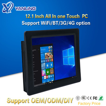 Yanling Embedded All-in-one Touch PC Intel i5 4200u Dual Core 12.1 Inch Resistive Screen Fanless Panel Computer with SIM Slot