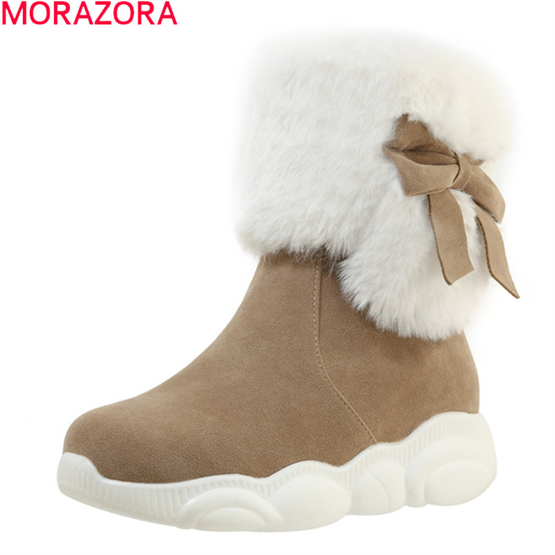 Womens Winter Mid-Calf Boots Top Pull On  Bowknot Plush Snow Shoes Sneakers