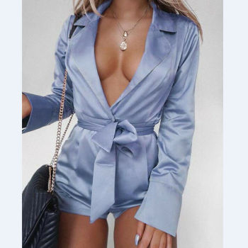 Women Sexy Satin Short Romper Jumpsuit Long Sleeve Clubwear Bodycon Playsuit Belts Bodysuit Party Body Clothes S-2XL 2020 New 2