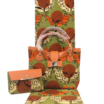 High Quality African Wax Prints Fabric 6 yards With African Wax Handbag Set print wax  bags african fabric bags H19012501