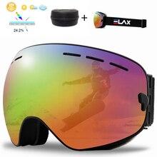 ELAX Ski Goggles Double Layers UV400 Anti-fog Big Ski Mask Glasses Skiing Snow Men Women Snowboard Goggles with Box
