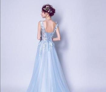 ruthshen Sexy Prom Dresses 2018 New V-Neck Embroidery Butterfly Long Evening Gowns See Through Light Blue Formal Dress 6