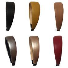 Solid Color Faux Leather Women Head Hoop Elastic Wide Turban Sponge Hair Band