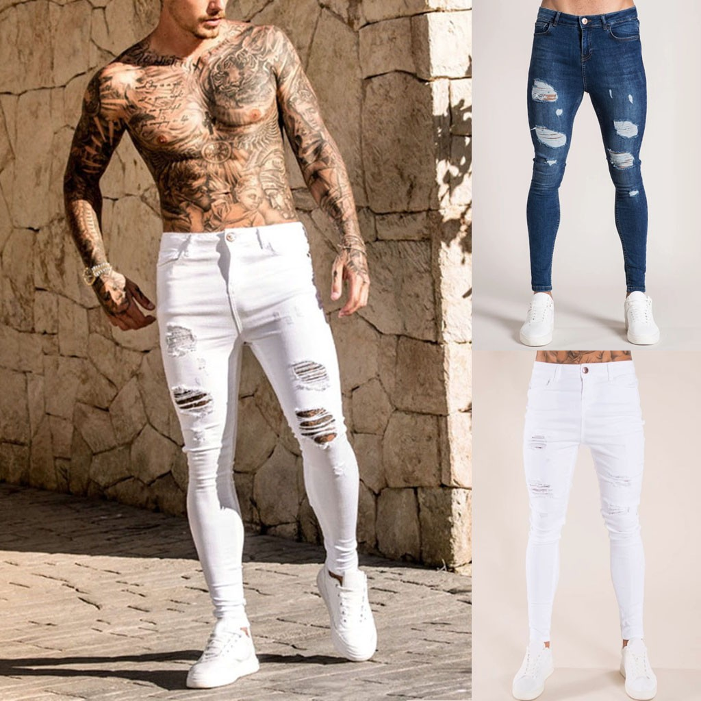 Mens Solid Color Jeans 2019 New Fashion Slim Pencil Pants Sexy Casual Hole Ripped Design Streetwear Cool Designer,White Blue#G2